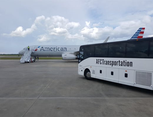 AFC Transportation picking up arriving passengers at the airport