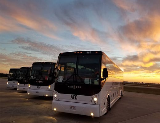 AFC Bus Fleet and a Houston, TX sunset